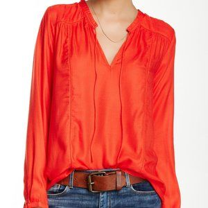 Lucky Brand Textured Peasant Blouse Fire Coral Red